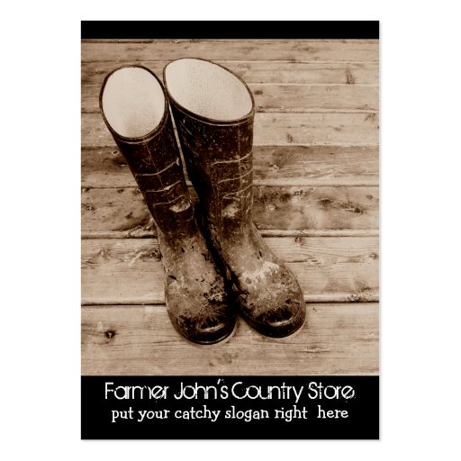 Muddy Gumboots for Farmers Country Store Business Cards