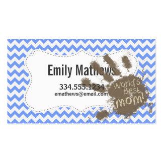 Muddy Hand Print on Blue Chevron Pattern Business Card