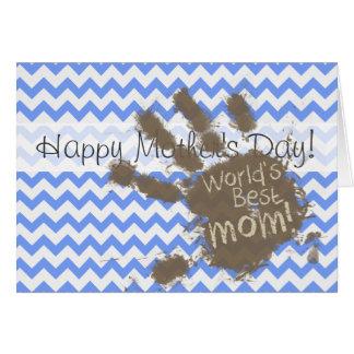 Muddy Hand Print on Blue Chevron Pattern Greeting Card