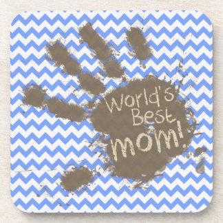 Muddy Hand Print on Blue Chevron Pattern Drink Coasters