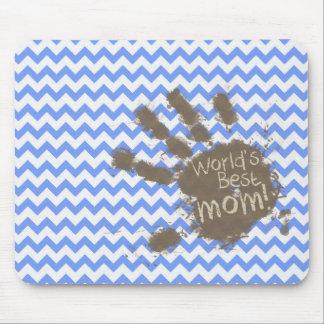Muddy Hand Print on Blue Chevron Pattern Mouse Pad