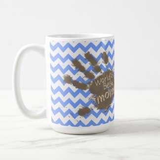 Muddy Hand Print on Blue Chevron Pattern Coffee Mugs