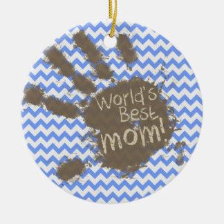 Muddy Hand Print on Blue Chevron Pattern Ornaments