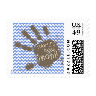 Muddy Hand Print on Blue Chevron Pattern Postage Stamps