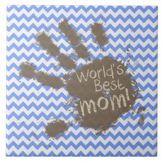 Muddy Hand Print on Blue Chevron Pattern Ceramic Tiles