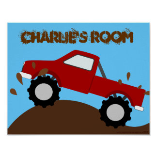 Muddy Monster Truck Personalized Poster