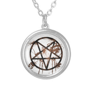 Muddy Pentagram Round Pendant Necklace