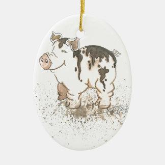 Muddy Pig Ceramic Ornament