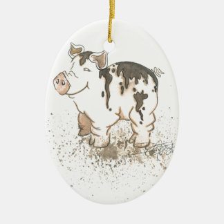 Muddy Pig Double-Sided Oval Ceramic Christmas Ornament