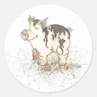 Muddy Pig Classic Round Sticker
