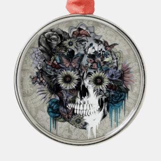 Mudo, cráneo del girasol adorno navideño redondo de metal