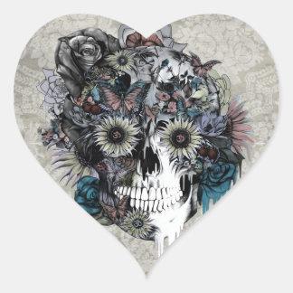 Mudo, cráneo del girasol pegatina en forma de corazón