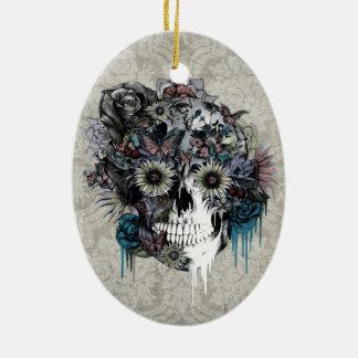 Mudo, damasco del cráneo del girasol adorno navideño ovalado de cerámica