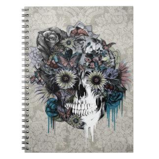Mudo, damasco del cráneo del girasol cuaderno