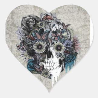 Mudo, damasco del cráneo del girasol pegatina en forma de corazón