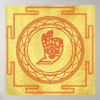 Mudra Om Mandala Classic Saffron Poster