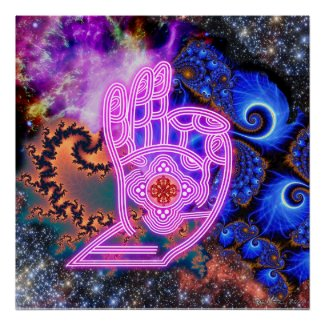 Mudra with Fractals and Galaxies Poster