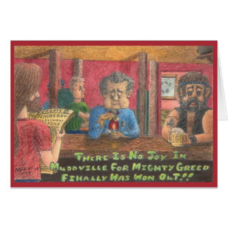 Mudville Greed Colored Pencil Drawing Card