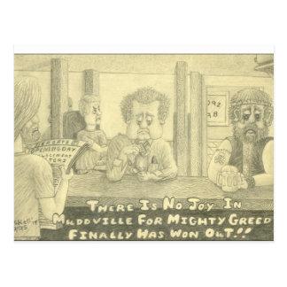 Mudville Greed Original Pencil Drawing Postcard