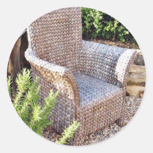 Muebles de la silla de la cesta pegatina redonda