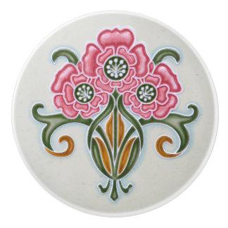 Muebles florales de Nouveau del arte Pomo De Cerámica