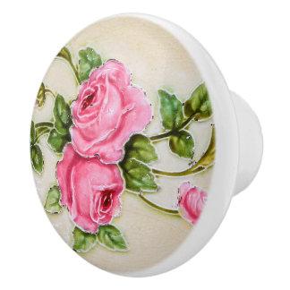 Muebles florales subiós vintage precioso pomo de cerámica