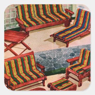 Muebles retros del patio de los suburbios del calcomania cuadradas