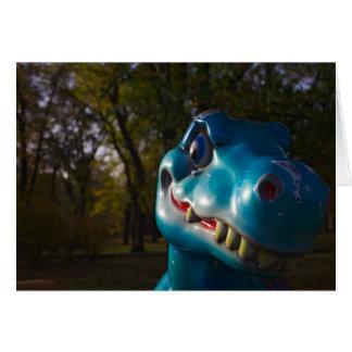 Mueca azul del dinosaurio felicitación