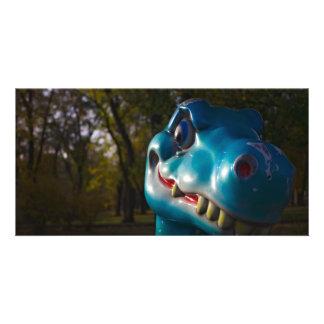 Mueca azul del dinosaurio tarjetas fotográficas personalizadas