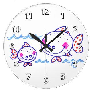 Mueca de Fishies Reloj De Pared