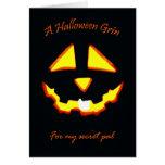 Mueca de Halloween para PAL secreto Tarjeta