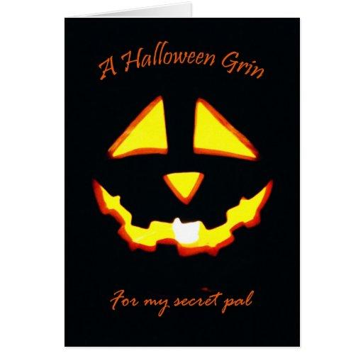 Mueca de Halloween para PAL secreto Tarjeta De Felicitación