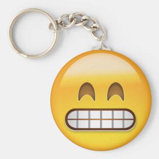 Mueca de la cara con los ojos sonrientes Emoji Llavero Redondo Tipo Pin