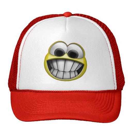 Mueca de la cara sonriente feliz gorras
