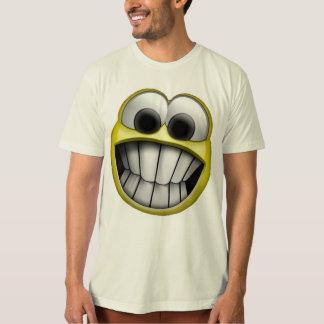 Mueca de la cara sonriente feliz playera