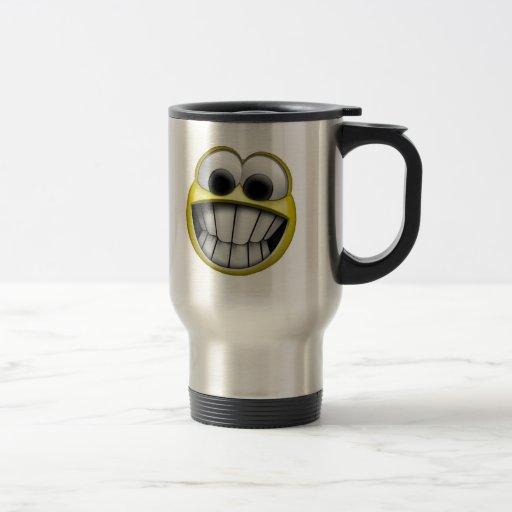 Mueca de la cara sonriente feliz tazas