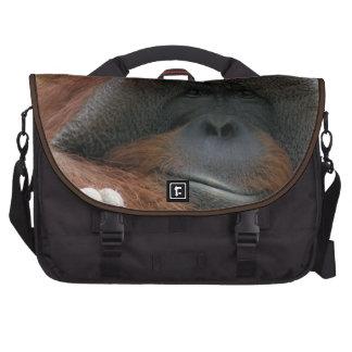 Mueca de la foto de la fauna del mono del orangutá bolsas de portátil