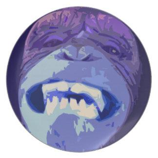 Mueca de la placa frontal del chimpancé platos de comidas