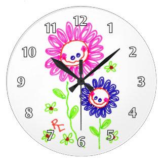 Mueca de las flores felices reloj