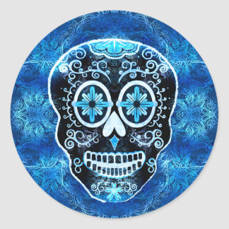 Mueca de los pegatinas azules de Calavera