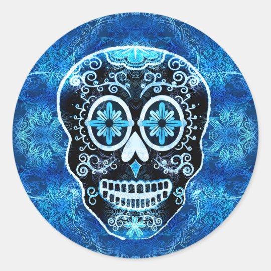 Mueca de los pegatinas azules de Calavera Pegatina Redonda