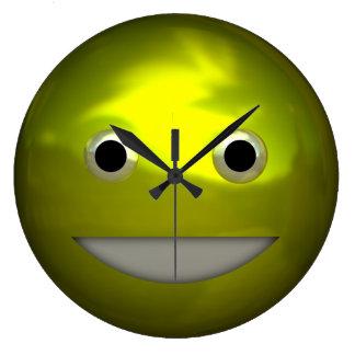 Mueca del arte sonriente metálico divertido de Kaw Reloj De Pared