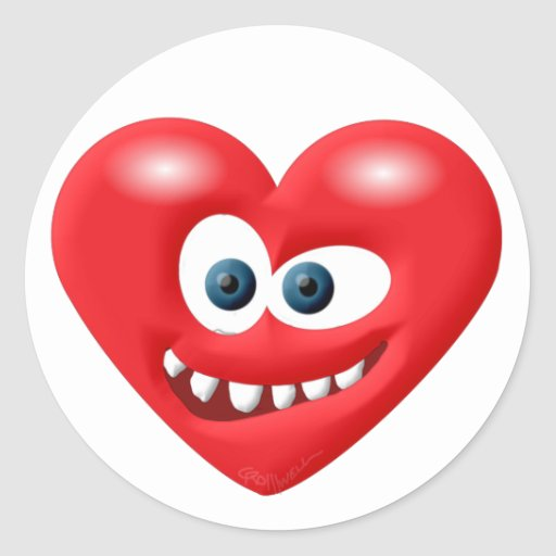 Mueca del corazón etiquetas redondas
