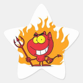 Mueca del diablo con el Pitchfork Pegatina En Forma De Estrella