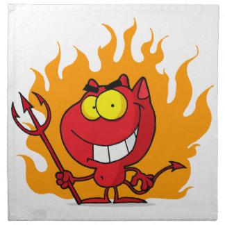 Mueca del diablo con el Pitchfork Servilleta Imprimida