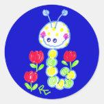 Mueca del fondo feliz del azul de Caterpillar Pegatina Redonda