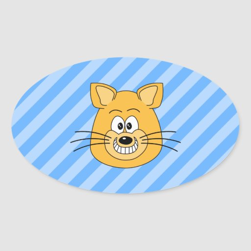 Mueca del gato pegatinas oval personalizadas
