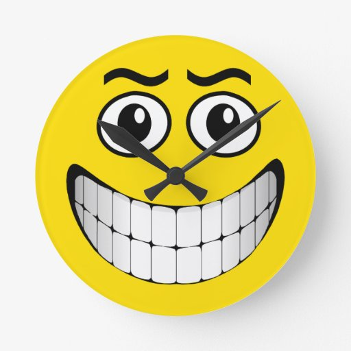 Mueca sonriente amarilla reloj de pared
