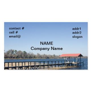 muelle del barco del lago tarjetas de visita