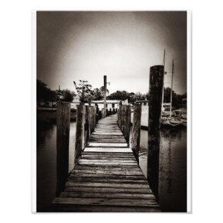 Muelle del camarón en la isla de Wilmington Fotografias